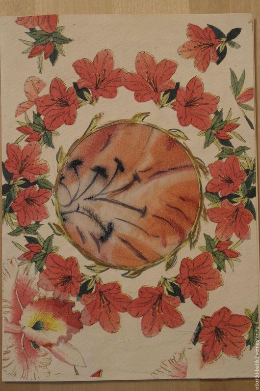 Открытки на все случаи жизни ручной работы. Ярмарка Мастеров - ручная работа. Купить Танец цветов. Handmade. Бежевый, цветы, Батик