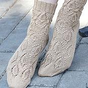 Аксессуары ручной работы. Ярмарка Мастеров - ручная работа Женские вязаные носки Beige с кашемиром. Handmade.