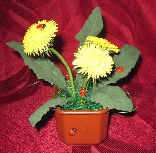 Искусственные растения ручной работы. Ярмарка Мастеров - ручная работа. Купить Одуванчики в горшочке. Handmade. Одуванчики, фоамиран иранский