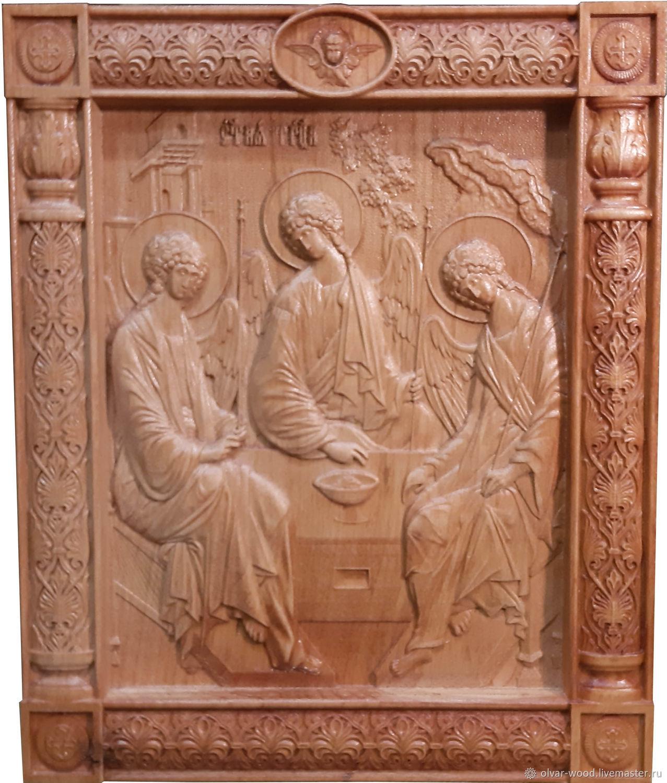 Резная икона Святая Троица, Иконы, Москва,  Фото №1