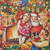 Материалы для творчества ручной работы. Ярмарка Мастеров - ручная работа Салфетка для декупажа Дед Мороз (Санта Клаус) и дети. Handmade.