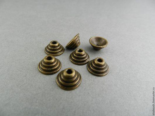Шапочка для бусин цвет бронза, размер 10*5 мм, отверстие 1,5 мм, материал - сплав металлов, не содержит никеля, кадмия, свинца (арт. 1812)