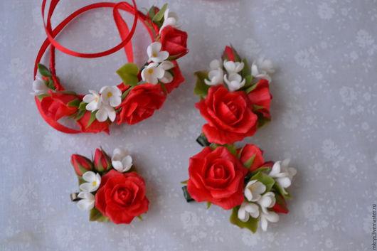 Комплекты украшений ручной работы. Ярмарка Мастеров - ручная работа. Купить Комплект с алыми розами и серенью. Handmade. Ярко-красный