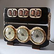 """Подарки ручной работы. Ярмарка Мастеров - ручная работа Ламповые часы """"Метеостанция ИН-12"""" (ясень, цвет дуб)+коробка. Handmade."""