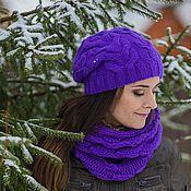 Аксессуары ручной работы. Ярмарка Мастеров - ручная работа Виолет вязаный комплект: шарф снуд и шапка. Handmade.