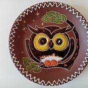 handmade. Livemaster - original item Ceramic saucer handmade: OWL. Handmade.