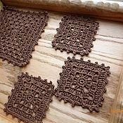 Для дома и интерьера ручной работы. Ярмарка Мастеров - ручная работа 6 подставок + салфетка. Handmade.
