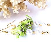 Украшения handmade. Livemaster - original item Long green bell earrings 088. Handmade.