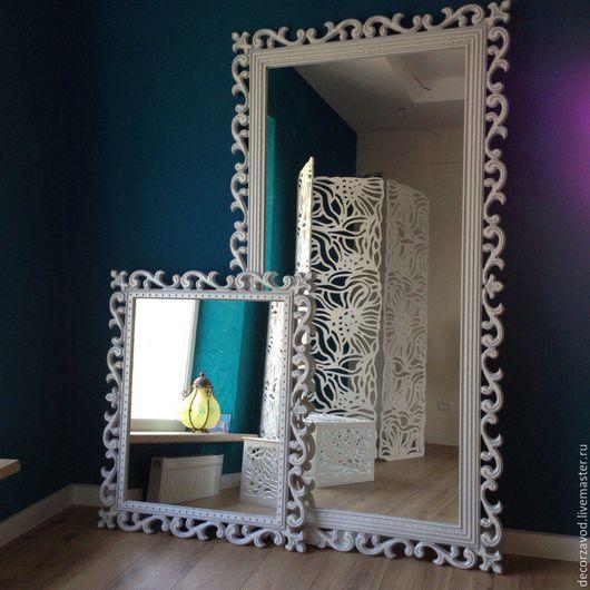 Зеркала ручной работы. Ярмарка Мастеров - ручная работа. Купить Зеркало в раме Жемчуг и серебро. Handmade. Ажурный декор, рама