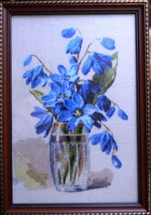 """Картины цветов ручной работы. Ярмарка Мастеров - ручная работа. Купить Вышивка крестом """"Подснежники"""". Handmade. Комбинированный, подснежники, цветы"""