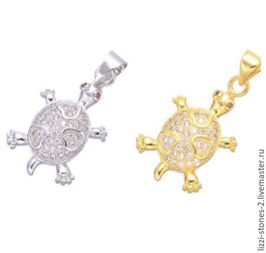 Подвеска Черепаха серебро и золото (Milano) Евгения (Lizzi-stones-2)