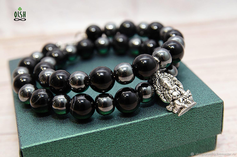 Bracelet with agate and hematite 'Ganesh', Bead bracelet, Budennovsk,  Фото №1