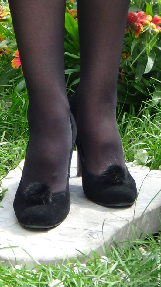 """Украшения для ножек ручной работы. Ярмарка Мастеров - ручная работа. Купить Клипсы на обувь из меха норки """"Галактика"""" черного цвета. Handmade."""