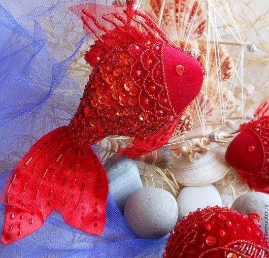 Новый год 2017 ручной работы. Ярмарка Мастеров - ручная работа. Купить РЫБКИ на новогоднюю елку. Handmade. Ярко-красный