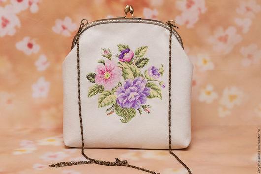 Женские сумки ручной работы. Ярмарка Мастеров - ручная работа. Купить вечерняя сумочка на фермуаре с вышивкой крестиком Букет Cross Stitch. Handmade.