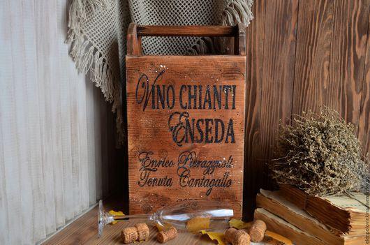 Мини-бар на три бутылки /шампанское не входит/ в стиле старого итальянского кантри. Универсальное решение для домашней винотеки и декора кухни.