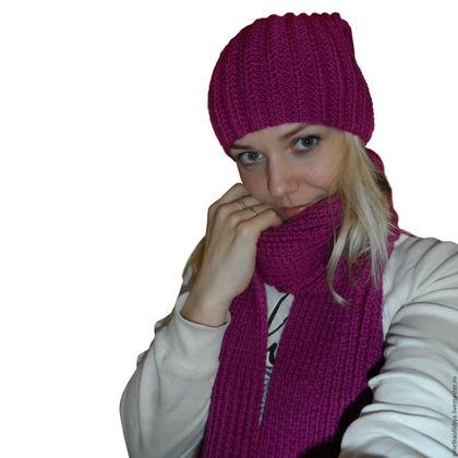 Шапки ручной работы. Ярмарка Мастеров - ручная работа. Купить Вязаная женская шапка+шарф.