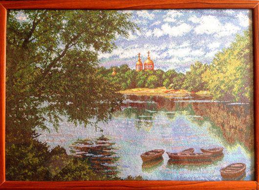 """Пейзаж ручной работы. Ярмарка Мастеров - ручная работа. Купить Картина """"Летний пейзаж"""". Вышивка, ручная работа. Handmade."""