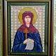 Икона `Святая Мелания Римлянине`, вышитая бисером и оформленная в багет мастерицей Iruschcka.