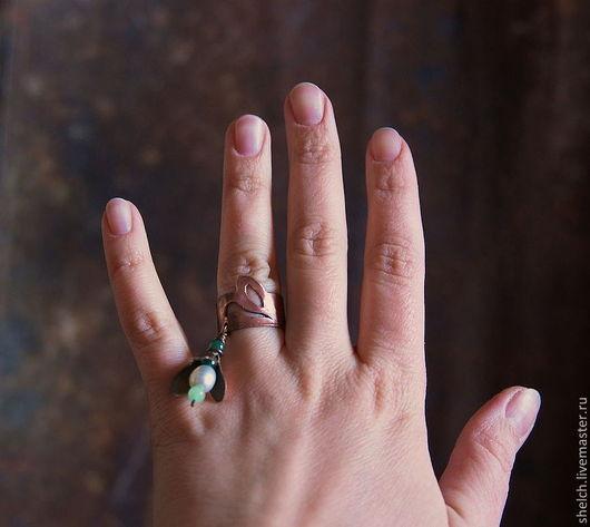 кольцо подснежник кольцо весна подснежник из меди кольцо с жемчугом украшение подснежник из меди цветок подснежник кольцо первоцвет подснежник весна украшения из меди натуральный жемчуг кольцо