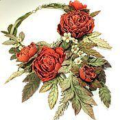 Украшения handmade. Livemaster - original item Peony Hops. Necklace made of genuine leather. Handmade.