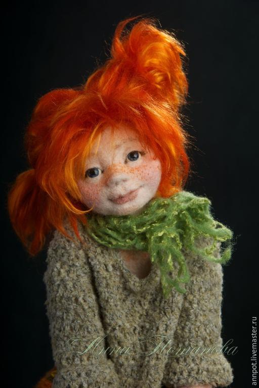 Коллекционные куклы ручной работы. Ярмарка Мастеров - ручная работа. Купить Авторская войлочная кукла Пеппи. Handmade. Рыжий, девочка