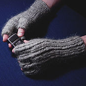 Аксессуары handmade. Livemaster - original item Men`s knitted fingerless gloves This brutal grey. Handmade.