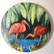 Картины и панно handmade. Livemaster - original item IBIS round oil painting. Handmade.