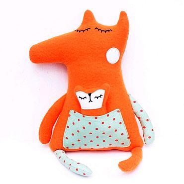 Куклы и игрушки ручной работы. Ярмарка Мастеров - ручная работа Мама Лиса и малыш. Handmade.