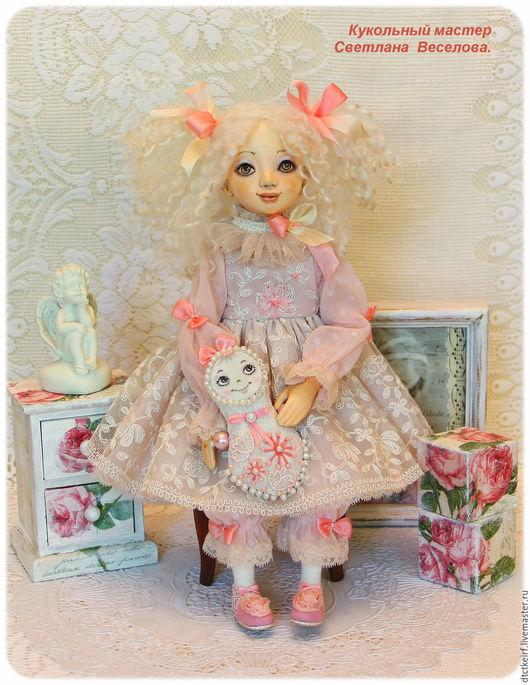 Коллекционные куклы ручной работы. Ярмарка Мастеров - ручная работа. Купить авторская будуарная кукла СОФИ. Handmade. Бледно-розовый
