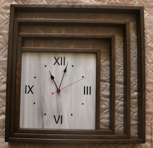 """Часы для дома ручной работы. Ярмарка Мастеров - ручная работа. Купить Настенные часы """"Перспектива"""". Handmade. Разноцветный, витражное стекло"""