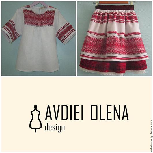 Этническая одежда ручной работы. Ярмарка Мастеров - ручная работа. Купить Костюм в украинском стиле на девочку. Handmade. Ярко-красный