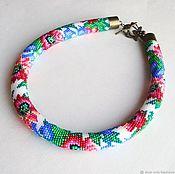 Necklace handmade. Livemaster - original item Harness beaded Petrikov painting. Handmade.