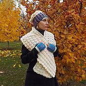 Аксессуары ручной работы. Ярмарка Мастеров - ручная работа Мягкий теплый комплект - шарф-палантин, шапка-берет, митенки. Фолк. Handmade.