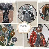 """Материалы для творчества ручной работы. Ярмарка Мастеров - ручная работа Набор текстильных купонов:""""Folk Animals"""". Handmade."""
