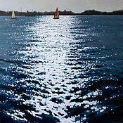 """Картины и панно handmade. Livemaster - original item Oil painting """"Glare on the water"""". Handmade."""