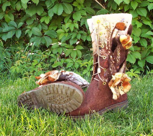"""Обувь ручной работы. Ярмарка Мастеров - ручная работа. Купить Валяные сапожки """"Шоколадная глазурь"""". Handmade. Комбинированный, обувь на заказ"""