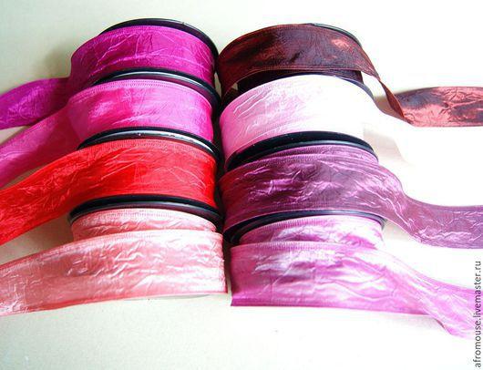 "Упаковка ручной работы. Ярмарка Мастеров - ручная работа. Купить ленты ""Жатая тафта.Красно-розовая гамма"" 40мм. Handmade."