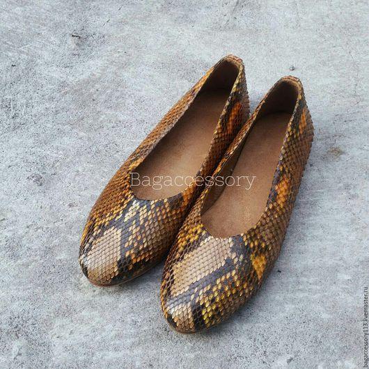Обувь ручной работы. Ярмарка Мастеров - ручная работа. Купить Балетки из натуральной кожи питона. Handmade. Комбинированный