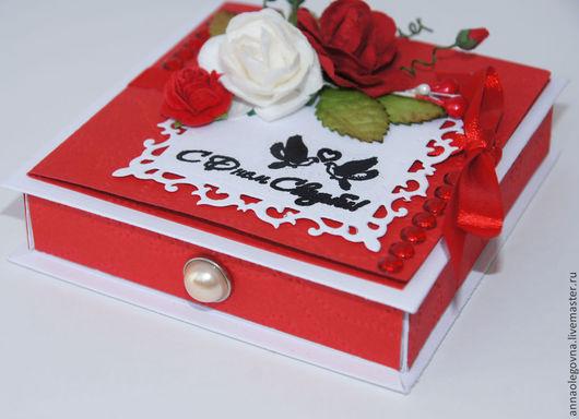 """Свадебные открытки ручной работы. Ярмарка Мастеров - ручная работа. Купить Коробочка для денег """"Красная роза"""". Handmade. Ярко-красный"""
