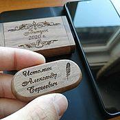 Сувениры и подарки handmade. Livemaster - original item Wooden flash drive with engraving (memory card). Handmade.