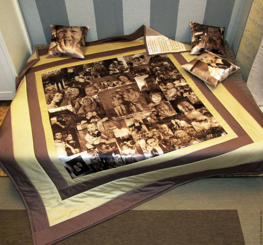 Персональные подарки ручной работы. Ярмарка Мастеров - ручная работа. Купить Лоскутное одеяло с фото. Handmade. Ярко-красный, красное
