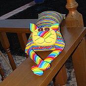 """Куклы и игрушки ручной работы. Ярмарка Мастеров - ручная работа Игрушка-подушка """"Радужный кот"""" яркие полоски. Handmade."""