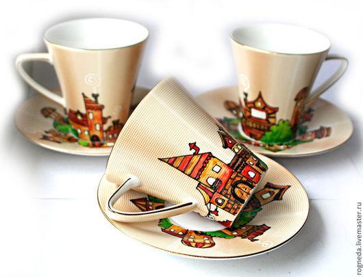 """Сервизы, чайные пары ручной работы. Ярмарка Мастеров - ручная работа. Купить Чайная пара """"Городок"""". Handmade. Дом, фарфор"""