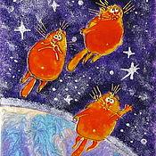 Картины и панно handmade. Livemaster - original item The picture Sun cats conquer space. Blue cats by Rina, Sanuk.. Handmade.