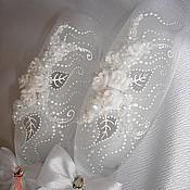 """Свадебный салон ручной работы. Ярмарка Мастеров - ручная работа Свадебные бокалы """"Белый букет"""". Handmade."""