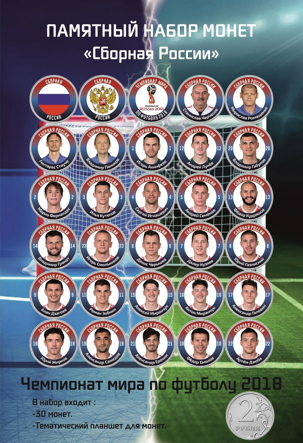 Gift set of coins 'Russian national Team on football of 2018', Souvenir coins, Moscow,  Фото №1