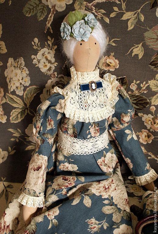 Куклы Тильды ручной работы. Ярмарка Мастеров - ручная работа. Купить Леди Грей. Handmade. Голубой, английский стиль, вискоза