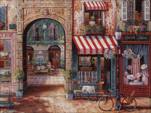 """Вышивка ручной работы. Ярмарка Мастеров - ручная работа. Купить Схема для вышивания крестиком """"Кафэшки"""". Handmade. Комбинированный, Кафе, улица"""