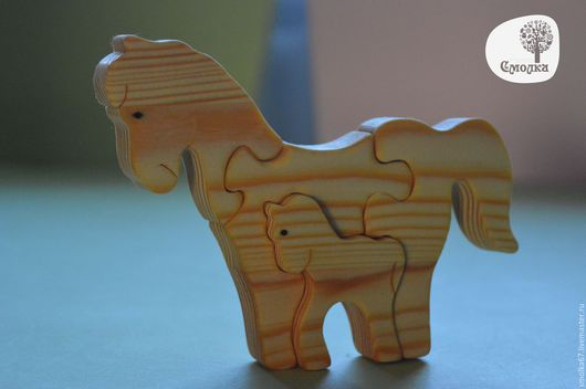 Развивающие игрушки ручной работы. Ярмарка Мастеров - ручная работа. Купить Лошадка и жеребенок. Развивающая деревянная игрушка-пазл.. Handmade.